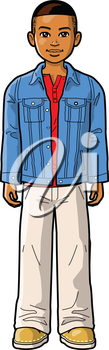 Royalty Free Clipart Image of a Boy in a Denim Jacket