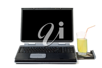 Royalty Free Photo of a Laptop and a Drink