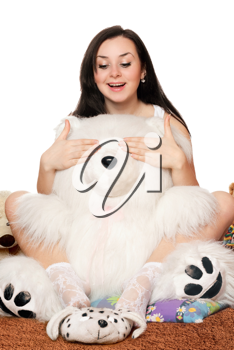 Royalty Free Photo of a Girl With a Teddy Bear