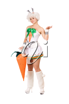 Royalty Free Photo of a Girl in a Bunny Suit Holding a Large Carrot