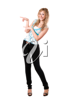 Royalty Free Photo of a Girl Pointing