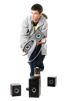 Royalty Free Photo of a Man With Speakers