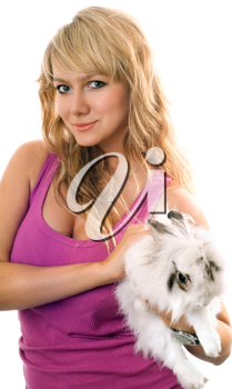 Royalty Free Photo of a Woman With a Rabbit