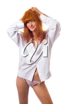 Royalty Free Photo of a Redhead in a Shirt and Panties