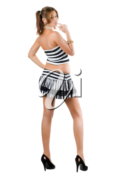 Royalty Free Photo of a Woman in Stripes