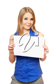 Royalty Free Photo of a Woman Holding an Empty Sign