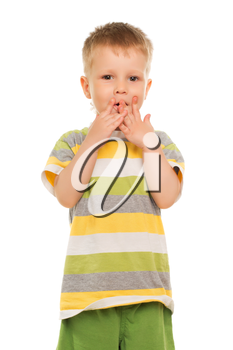 Little boy in striped t-shirt playing with his fingers. Isolated on white