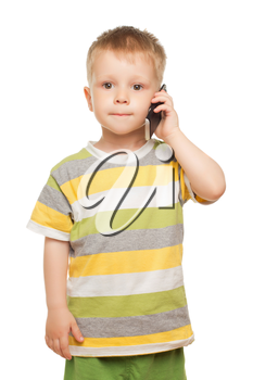 Funny little boy posing with mobile phone. Isolated on white