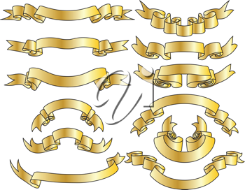 Set of golden ribbons with silver stripes. Vector illustration.