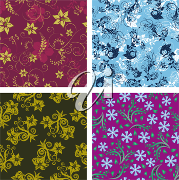 Seamless vector floral backgrounds set. For easy making seamless pattern just drag all group into swatches bar, and use it for filling any contours.