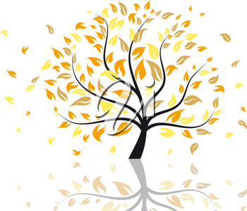 Vector illustration of autumn tree with falling leaves