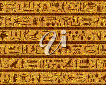Egyptian seamless hieroglyphs pattern.  For easy making seamless pattern just drag all group into swatches bar, and use it for filling any contours.