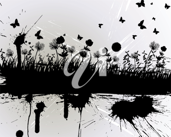 Vector grunge grass silhouettes background. All objects are separated.
