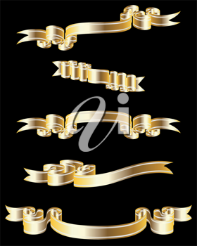 Set of different golden vector ribbons for design use