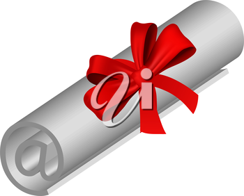 Royalty Free Clipart Image of a Certificate With a Red Ribbon