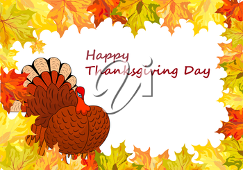 Thanksgiving Day background with maple leaves. All objects are separated. Vector illustration Eps 10.