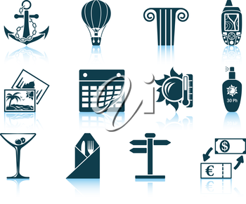 Set of travel icons. EPS 10 vector illustration without transparency.