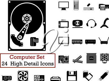Set of 24 Computer Icons in Black Color.
