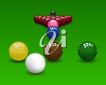 Snooker pyramid  shiny balls on green background. Vector illustration.
