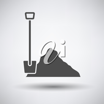 Construction shovel and sand icon on gray background with round shadow. Vector illustration.
