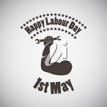 Labour day emblem with biceps and wrench in fist. Vector illustration.