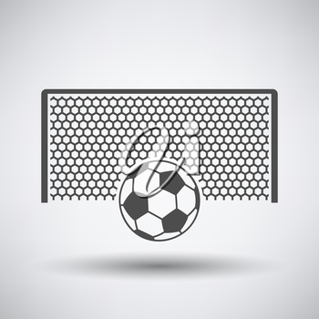 Soccer gate with ball on penalty point  icon on gray background with round shadow. Vector illustration.