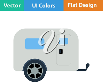 Flat design icon of camping family caravan car in ui colors. Vector illustration.