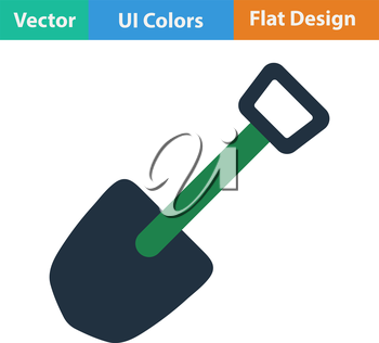 Flat design icon of camping shovel in ui colors. Vector illustration.