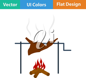 Flat design icon of roasting meat on fire in ui colors. Vector illustration.