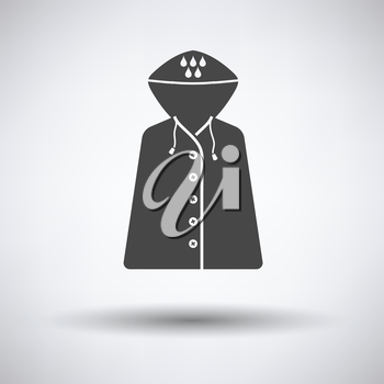 Raincoat icon on gray background with round shadow. Vector illustration.