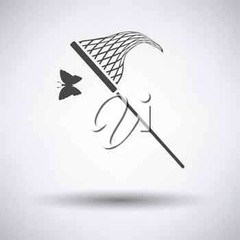 Butterfly net  icon on gray background with round shadow. Vector illustration.