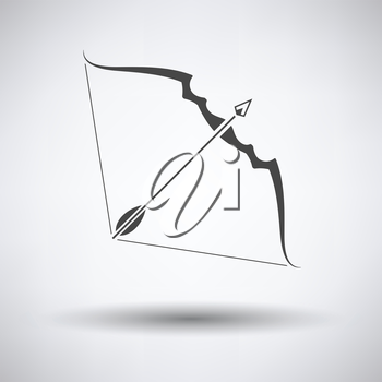 Bow and arrow icon on gray background with round shadow. Vector illustration.