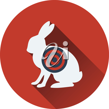 Icon of hare silhouette with target . Flat design. Vector illustration.