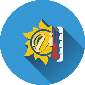 Sun and thermometer with high temperature icon. Flat design. Vector illustration.