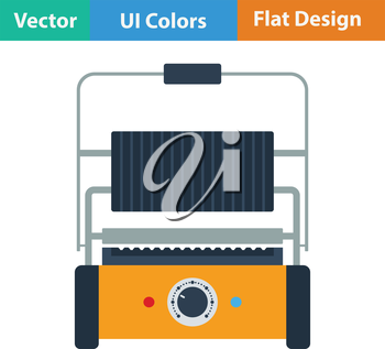 Kitchen electric grill icon. Flat design. Vector illustration.
