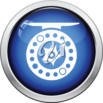 Icon of Fishing reel . Glossy button design. Vector illustration.