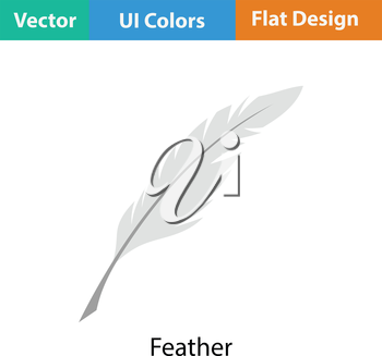 Writing feather icon. Flat color design. Vector illustration.