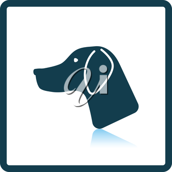 Hunting dog head  icon. Shadow reflection design. Vector illustration.