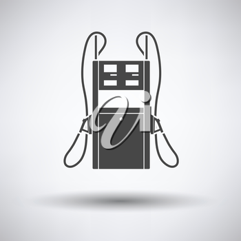 Fuel station icon on gray background, round shadow. Vector illustration.