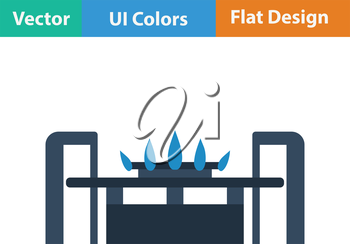 Gas burner icon. Flat color design. Vector illustration.