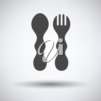 Baby spoon and fork icon on gray background, round shadow. Vector illustration.