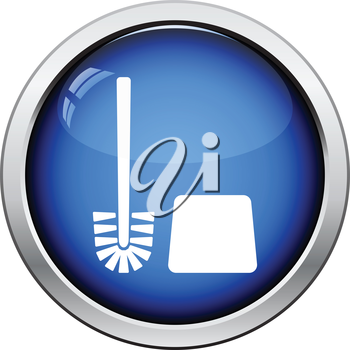Toilet brush icon. Glossy button design. Vector illustration.