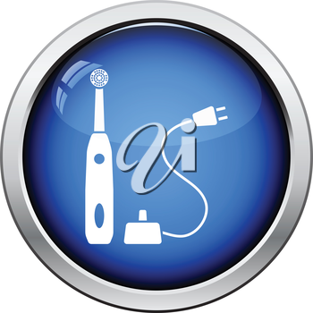 Electric toothbrush icon. Glossy button design. Vector illustration.