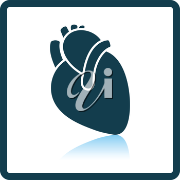 Human heart icon. Shadow reflection design. Vector illustration.
