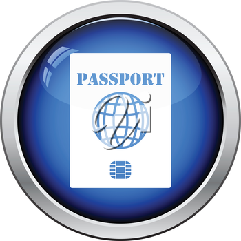 Passport with chip icon. Glossy button design. Vector illustration.