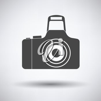 Icon of photo camera on gray background, round shadow. Vector illustration.