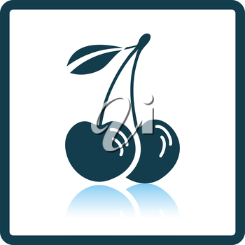 Icon of Cherry. Shadow reflection design. Vector illustration.