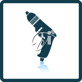 Icon of electric drill. Shadow reflection design. Vector illustration.