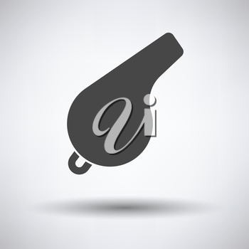 Whistle icon on gray background, round shadow. Vector illustration.