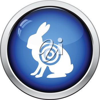 Hare silhouette with target  icon. Glossy button design. Vector illustration.